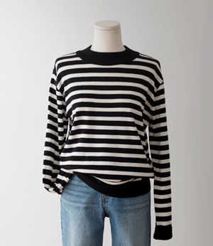 romi half neck stripe wool knit[니트BFH25] 3color_free size안나앤모드