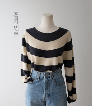indigo stripe wholega knit [니트BGA9] 4color_free size안나앤모드