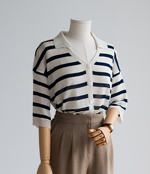 beva linen stripe collar knit[니트BKT59] 3color_free size안나앤모드