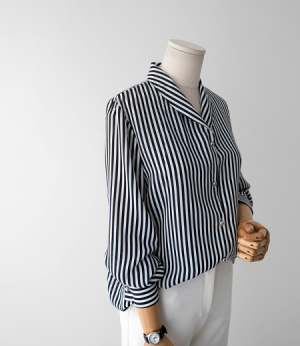stripe shawl collar bl[셔츠AUW36] 2color_free size안나앤모드